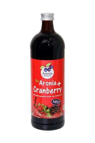Arónie (čierny žeriav, jarabina) + Brusnica BIO, 100% čistá šťava, 0,7 litra
