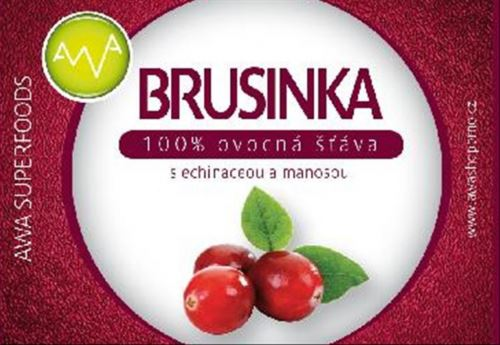 AWA superfoods Brusnica - 100% šťava s echinaceou a manosou 250 ml