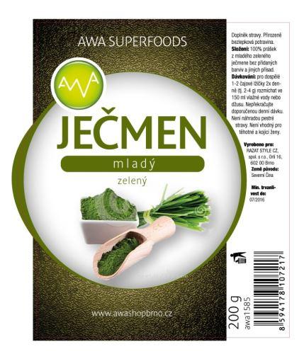 AWA superfoods Zelený mladý jačmeň 2x200g + darček