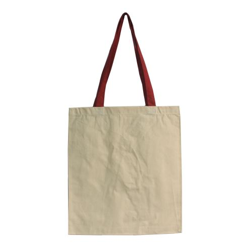 Taška bavlnená dlhá s farebnými držadlami 38x42cm