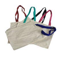 Taška bavlnená krátka s farebnými držadlami 35x30cm