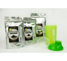 AWA superfoods Jačmeň 200g + Spirulina 200g +Chlorella 200g + Shaker