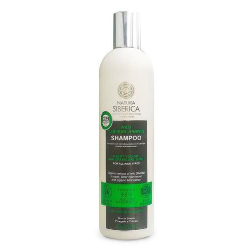 Šampón Divá Sibírska Borievka dokonalý objem a lesk pre všetky typy vlasovj, Natura Siberica 400 ml