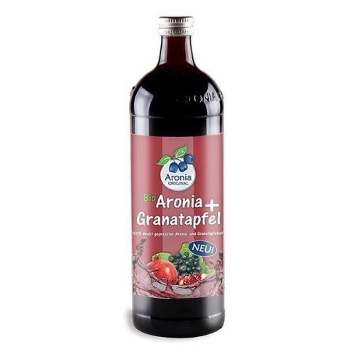 Arónie (černý jeřáb,jeřabina) + Granátové jablko BIO,100% čistá šťáva 0,7 litru
